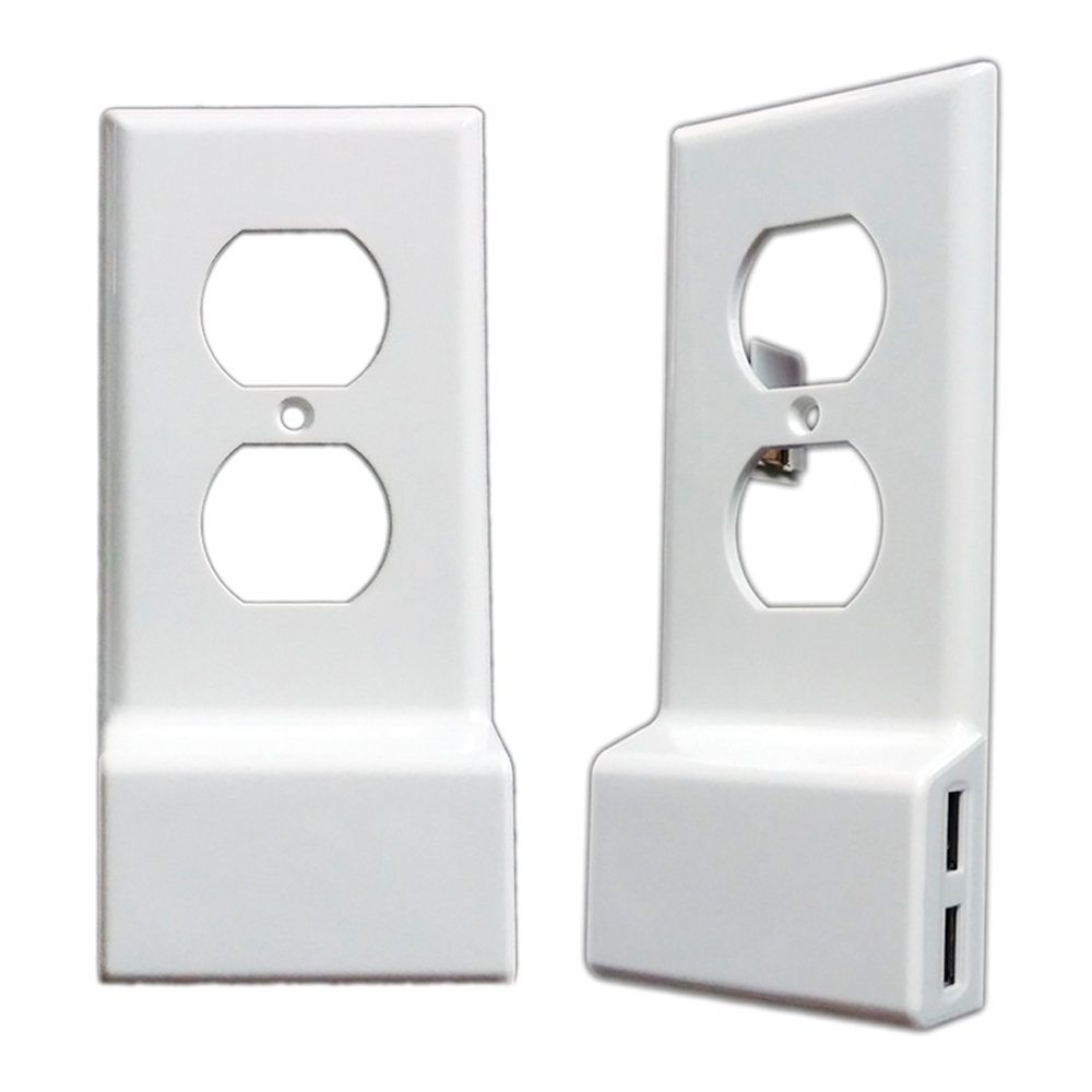 Duplex USB Outlet Wall Plate Cover - Upgrade Version Snap On Wall Outlet Cover Plate Replacement with 2 USB Charging Ports for Cellphones and Tablets, Fire Stick, Power Bank - White