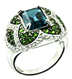 Sterling Silver 925 STATEMENT Ring LONDON BLUE TOPAZ 5.81 Cts with RHODIUM-PLATED Finish, COCKTAIL Style (9)