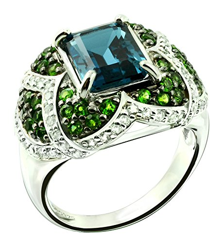 Sterling Silver 925 STATEMENT Ring LONDON BLUE TOPAZ 5.81 Cts with RHODIUM-PLATED Finish, COCKTAIL Style (9) by RB Gems
