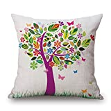 """Happy Cool Cotton Linen Square Spring/Summer/Autumn/Winter Decorative Throw Pillow Cushion Cover 18""""x 18"""" Purple"""