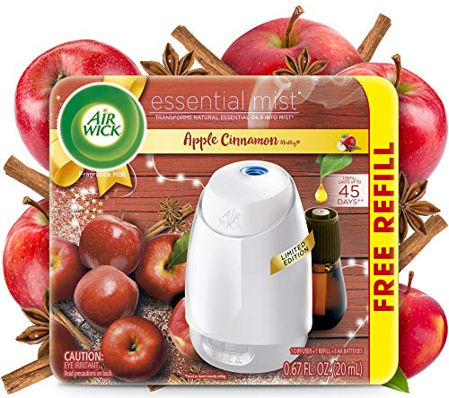 Air Wick Essential Mist, Essential Oils Diffuser, (Diffuser + 1 Refill), Apple Cinnamon, Fall Scent, Fall Spray, Air Freshener