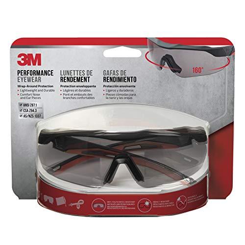 3M 47091-WZ4 Safety Eyewear, Aerodynamic Design, Black w/Red Accent Frame, Gray Lens, Anti-Fog