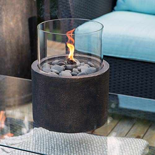 Globe House Products GHP Antique Bronze Envirostone Portable Centerpiece Heater Patio Tabletop Firebowl