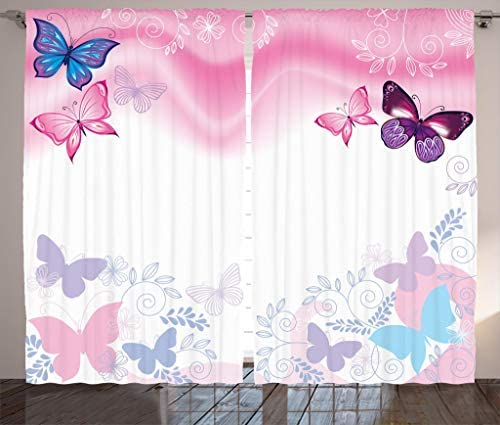 Ambesonne Princess Curtains, Flowers and Butterflies Curly Wavy Leaves Insect Summertime Design, Living Room Bedroom Window Drapes 2 Panel Set, 108 X 84 , Pink White Maroon
