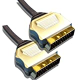 0.5 Metre Metal Plug, Gold Plated, OFC Scart Cable ½ M Lead