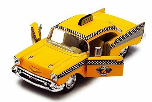 1957 Chevy Bel Air Taxi Cab, Yellow - Kinsmart 5360D - 1/40 scale Diecast Model Toy Car