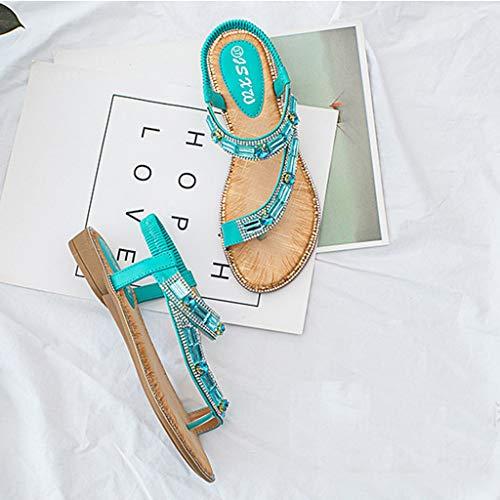 Cristal De Sunnywill Marche Élastique Vert Romain Femme Élastique Wedge Élégant Beach Noir Beige Basse Vert Bohème Rose Blanc Sandals Bleu Rouge nxxfCq4wzA