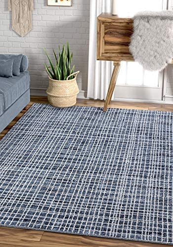 Well Woven Cella Blue Geometric Lines Pattern Area Rug 8×11 7'10″ x 10'6″