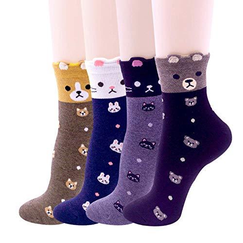 Happytree Cute Design Casual Cotton Crew Socks, Cat Socks, Dog Socks, Animal Socks, Good for Gift (Puppy Dot) -