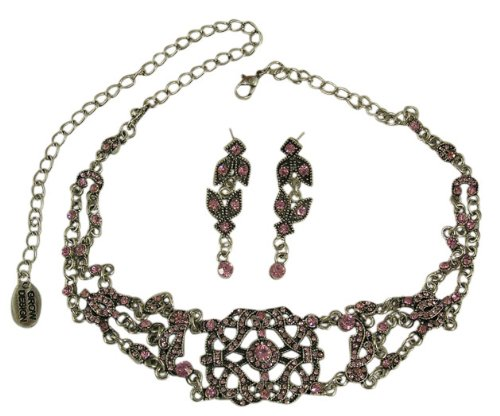 Trachtenschmuck Kristall Kropfkette - Dirndl Collier Set - Kette im viktorianischen Stil - Ohrstecker - Light Rose rosa