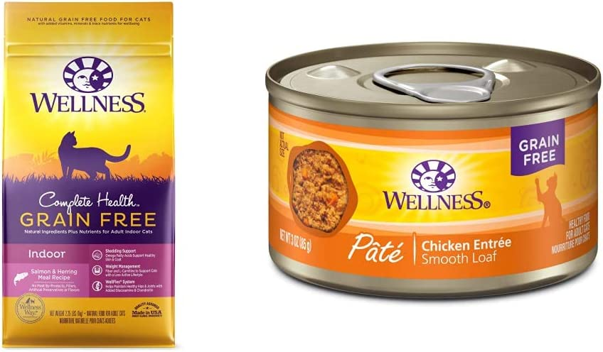 Wellness Complete Health Natural Grain Free Salmon & Herring Indoor Dry Cat Food, 2.25 Pound Bag + Pate Chicken Entrée, 3 oz, Pack of 24
