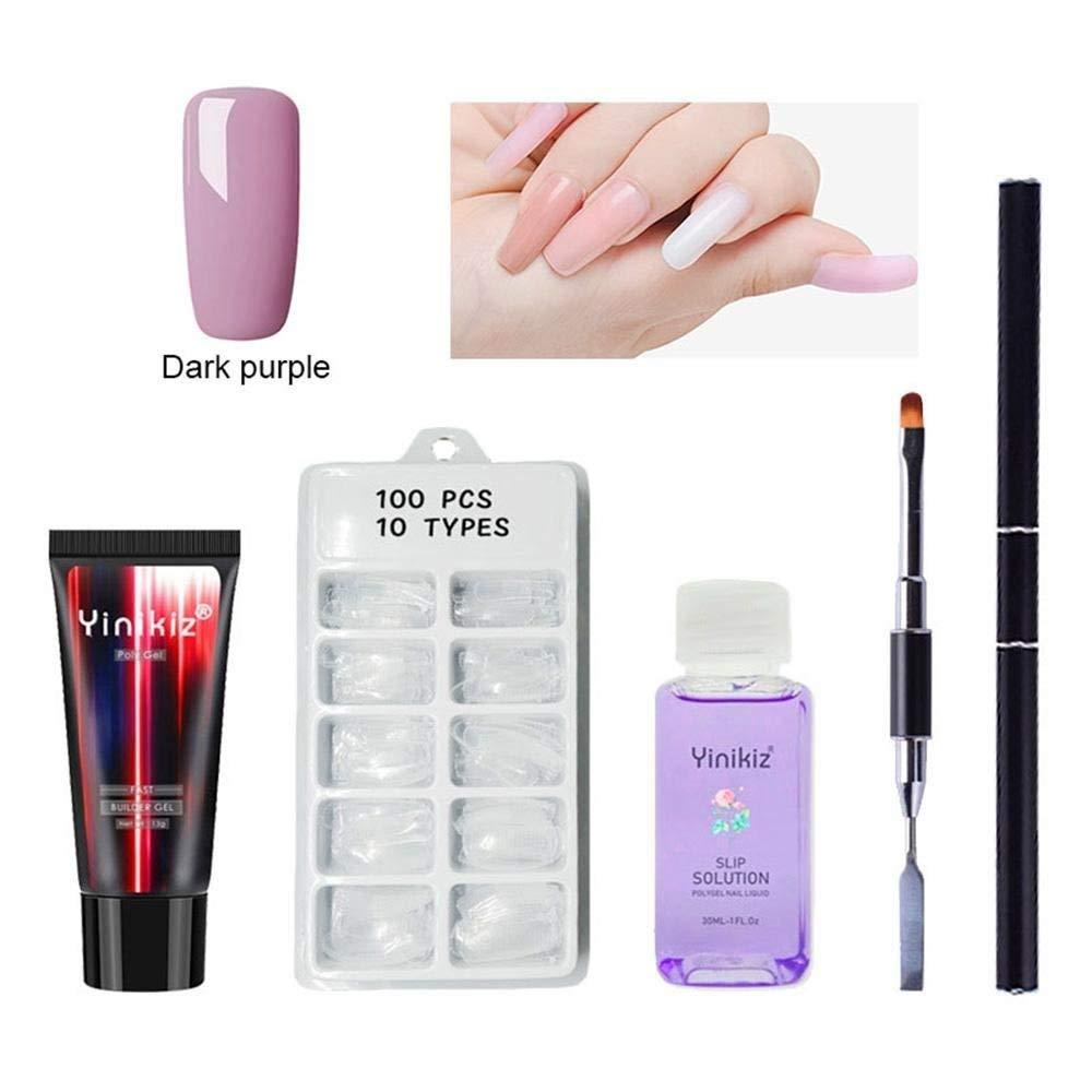 KOBWA Poly Gel Nail Art Kit - (4Pcs), Poly Gel + Slip Solution Nail Liquid + Nail Tips + Double-ended Nail Brush, Nail Art Tool Sets Poly Glue Gel Nail Art Tool