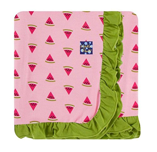 (Kickee Pants Custom Print Ruffle Toddler Blanket - Lotus Watermelon With Meadow Trim and)