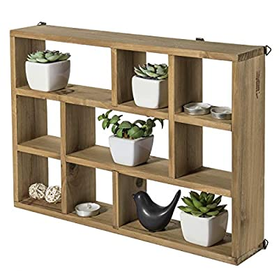 MyGift 15-Inch Wall-Mounted (Vertical or Horizontal) 9-Slot Rustic Wood Floating Shelves/Freestanding Shadow Box, Brown - A freestanding or wall-mounted shelf rack made of sturdy wood with a natural-style finish. Boasts 9 compartments in various shapes and sizes to allow for versatile display options and eye-catching style. Can be set on any counter top or attached to any wall either vertically or horizontally using the appropriate mounting hardware (not included). - wall-shelves, living-room-furniture, living-room - 51Z80eD7ZtL. SS400  -