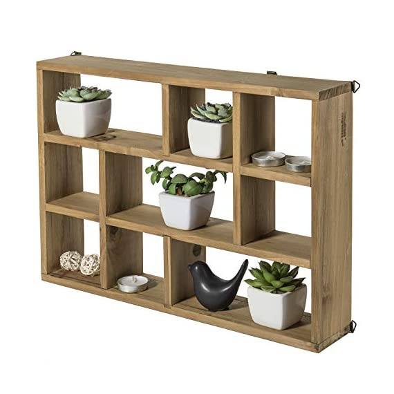 MyGift 15-Inch Wall-Mounted (Vertical or Horizontal) 9-Slot Rustic Wood Floating Shelves/Freestanding Shadow Box, Brown - A freestanding or wall-mounted shelf rack made of sturdy wood with a natural-style finish. Boasts 9 compartments in various shapes and sizes to allow for versatile display options and eye-catching style. Can be set on any counter top or attached to any wall either vertically or horizontally using the appropriate mounting hardware (not included). - wall-shelves, living-room-furniture, living-room - 51Z80eD7ZtL. SS570  -