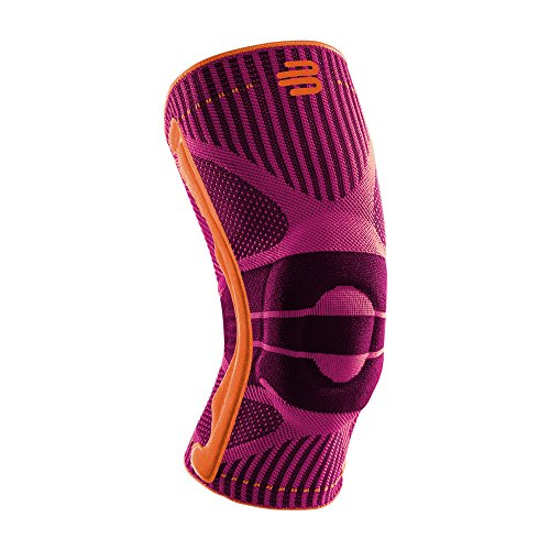 Bauerfeind Sports Knee Support – Breathable Compression Knee Brace for Athletes – Medical Grade Compression – Lightweight, Moisture Wicking, Breathable and Washable Knit Fabric (Pink, Large)