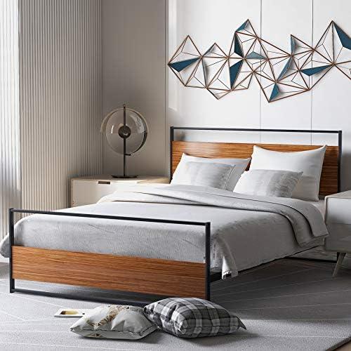 P PURLOVE Full Platform Bed Frame Metal and Wood Platform Bed