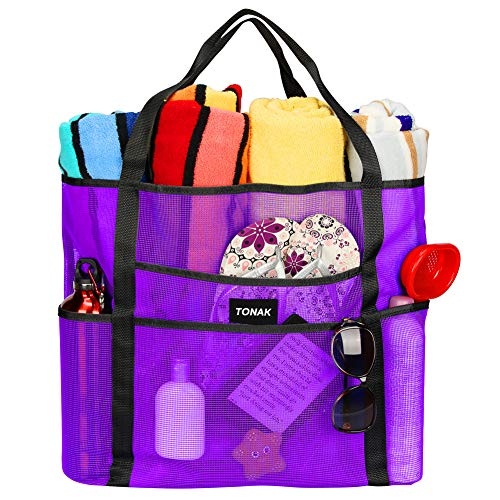 Mesh Beach Bag Toy Tote Bag Grocery Storage Net Bag Oversized Big XL with Pockets Foldable Lightweight for Family Pool Purple Color