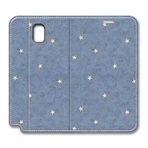 Brain114 Fashion Style Case Design Flip Folio PU Leather Cover Standup Cover Case with Blue Stars Pattern Skin for Samsung Galaxy Note 3