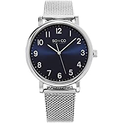 SO & CO New York Men's HN5217.2 Madison Analog Display Specialty Quartz Silver Mesh Bracelet Watch