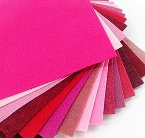Amazon 15 Pinks Reds Valentine 9X12 Merino Wool Blend Felt Sheets Collection