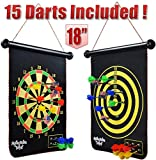 "m-aimee magnetic dart board for kids - 18"" double-sided roll-up with 15pcs darts set, safe game for"