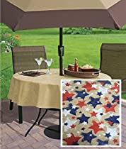"""Burlap Patriotic Stars, Red, White and Blue Print Indoor/Outdoor Flannel Backed Vinyl Tablecloth, 70"""" Zippered Umbrella Round"""