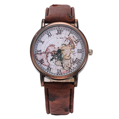 Watch Mens Womens Classic Map Retro Leather Pattern PU Roman Numeral Wrist Watch (Map Watches)
