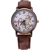 Watch Mens Womens Classic Map Retro Leather Pattern PU Roman Numeral Wrist Watch (Brown)