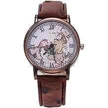 Watch,Womens Watch,Classic Map Leather Pattern PU Wrist Watch (Brown)