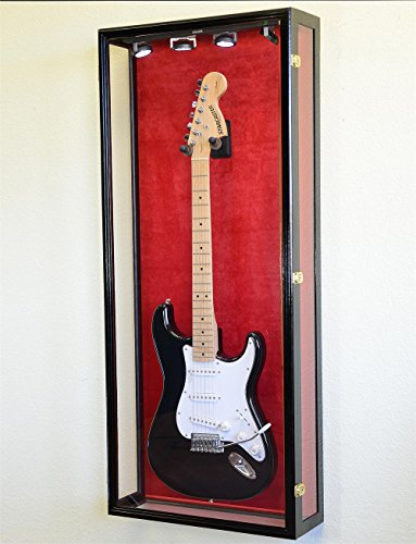 Clear Viewing Guitar Display Case Fender Acoustic Electric Cabinet Rack Holder (Black Finish, Red Background)