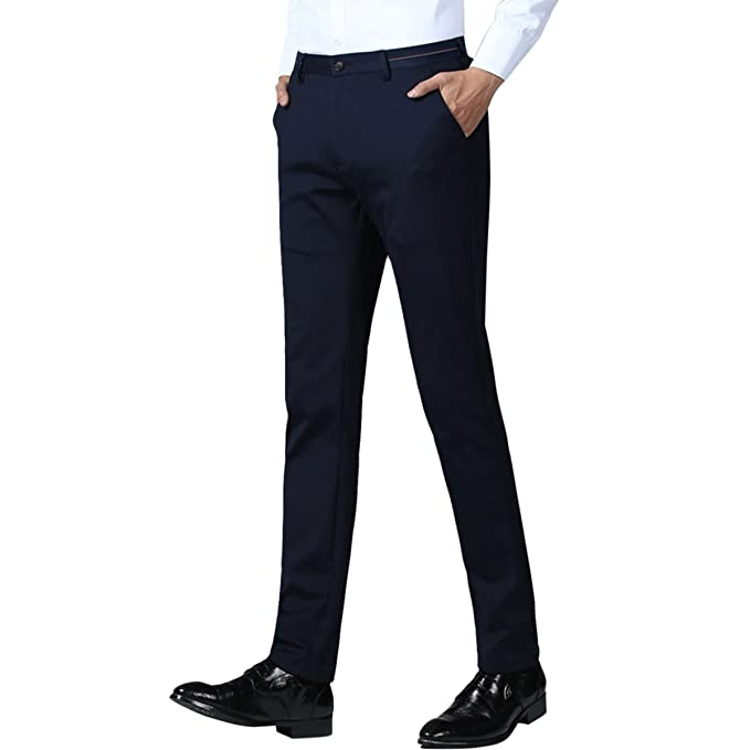 Zhhlaixing Pantalones de Traje para Hombre Negros Slim fit Negocio Fiesta  Ceremonia Formal Work Trousers Home Office  Amazon.es  Ropa y accesorios a883f382b36