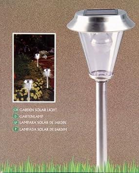 Lampadaire lampe solaire de jardin en INOX - Ampoule LED blanche ...