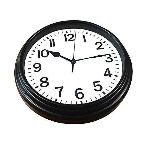 BINWO Wall Clock, Modern Indoor Silent Non Ticking Quality Quartz 8 Inch Battery Operated Round Easy to Read Home/Office/School Clocks - 100% Non-ticking & Accurate: Precise Quartz Sweep Movement guarantees accurate time and absolutely SILENT environment. CLASSIC & ELEGANT: Classic styling and black rim perfect for any home or office decor style. EASY VIEWING: Special shatter-proof glass cover offers better clarity with large numerals for easy viewing. - wall-clocks, living-room-decor, living-room - 51Z82Rh 4qL. SS570  -