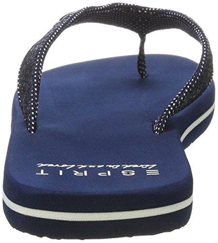 Esprit Glitter Thongs, Zuecos para Mujer Azul (400 Navy)
