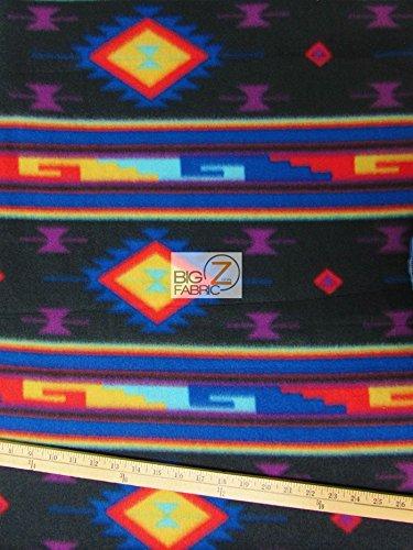 MIDNIGHT MOON INDIAN AZTEC PRINT POLAR FLEECE FABRIC 60