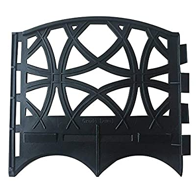 ABBA ECO Recycled Plastic Decorative Fence Border Weatherproof Garden Edging Set-12 Pack, 6.4 inch x 5.7 inch, Black