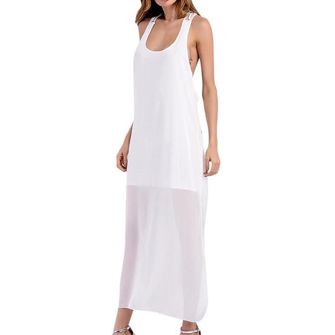 fb9c5ce5fb59 Longra Damen Chiffon Kleid Sommerkleid Lang Boho Kleider mit Spitze Damen  Ärmellos Leicht und Transparent Maxikleider