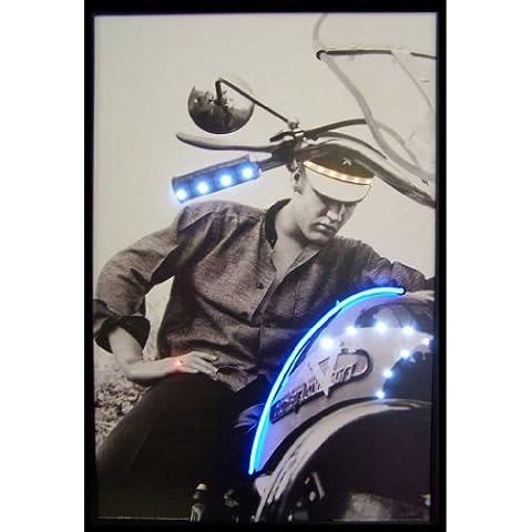 Neonetics Elvis Motorcycle Neon LED Lighted Framed Vintage Advertisement Wall Art - Motorcycles Neon Clock