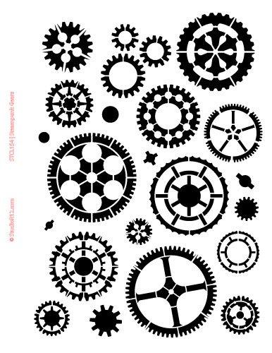 amazon com gears stencil by studior12 steampunk art medium 8 5
