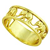 CloseoutWarehouse Sterling Silver Elephant Family Migration Ring Yellow Gold-Tone Plated Size 4