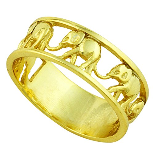 Sterling Silver Elephant Family Migration Ring Yellow Gold-Tone Plated Size 8
