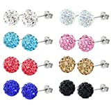 Charisma Sparkling Rhinestone Crystal Ball Stud Earrings Fireball Disco Ball Pave Bead Earrings Set for Women Girls Hypoallergenic