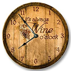 Vi457ad Its Always Wine o'clock Wall Clock Wooden Cask Lid Printed Image Rustic Cabin Bar Home Decor Large 12 Wall Clock