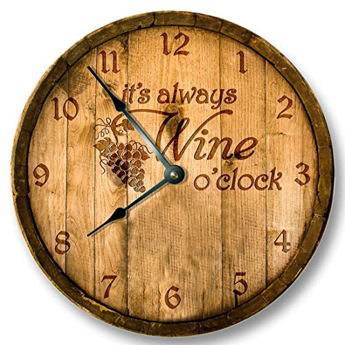 Vi457ad Its Always Wine o'clock Wall Clock Wooden Cask Lid Printed Image Rustic Cabin Bar Home Decor Large 12
