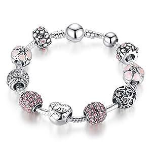 Pandora Element DIY Charm Beads Bracelet Silver Plated Love Fashion Gift