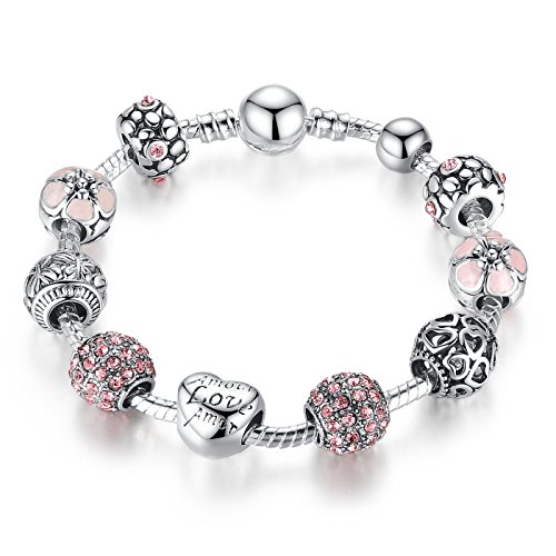 Presentski Love Charm Bracelet for Women and Girls with Pink CZ, Heart, Amour, Amor, Flower, and Butterfly (8.3 Inches)