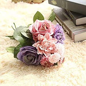HOMZE Fall Decorations Flower Roses Artificial Flowers for Wedding Decoration Silk Dahlia Hybrid Flower for Home Decor Fall Vivid Fake Leaf Flower Purple 100