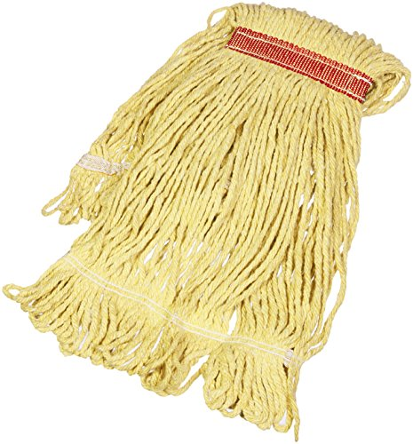 AmazonBasics Loop-End Synthetic Commercial String Mop Head, 1.25 Inch Headband, Small, Yellow, 6-Pack
