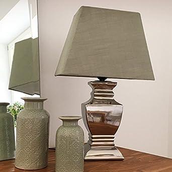 Tischlampe Grun Silber 54 Cm Tischleuchte Shabby Vintage Nostalgie